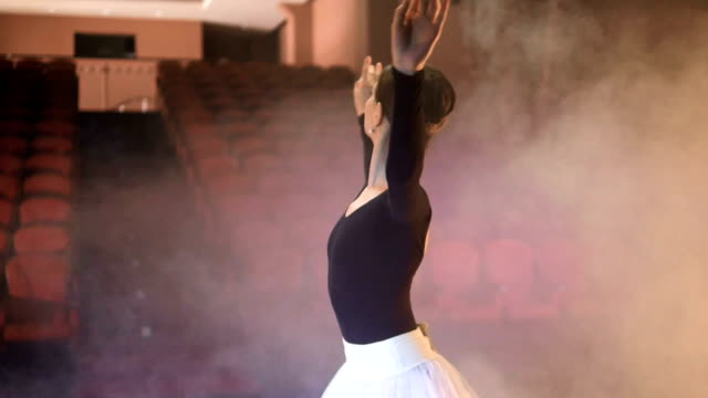 A-ballerina-ballet-performer-looks-to-the-empty-seats-and-dances-