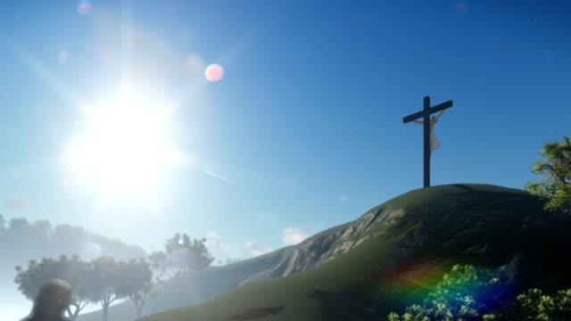 Christin-beten-zu-Jesus-Kreuz-schwenken