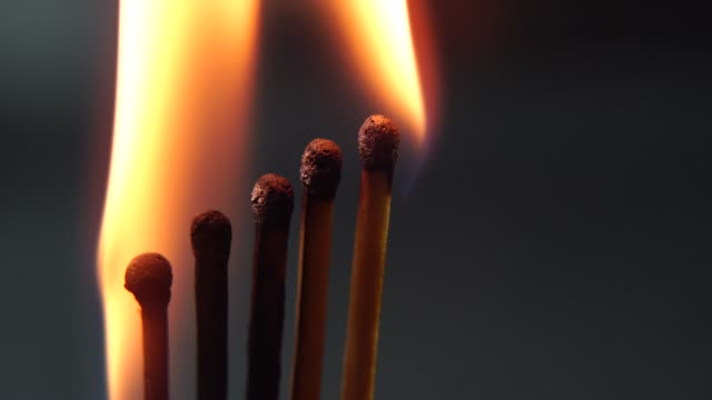 Burning-Matches-Chain-Reaction-And-Flame-Five-Matches-close-up-standing-next-to-each-other-on-a-black-background