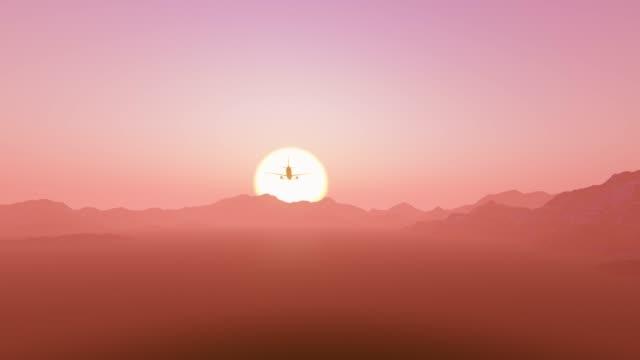 El-avión-está-aterrizando-en-el-fondo-de-un-gran-sol-