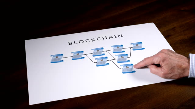 Senior-technologist-pointing-to-blockchain-illustration