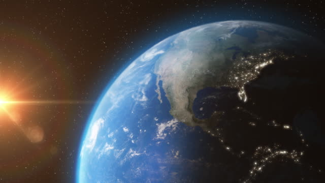 Earth-from-Space-with-Sun-Light-Stars-Day-Night---3D-Animation-4K