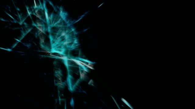 Resumen-conectado-borrosas-puntos-y-líneas-en-la-animación-de-fondo-negro-con-espacio-de-copia-Render-3D