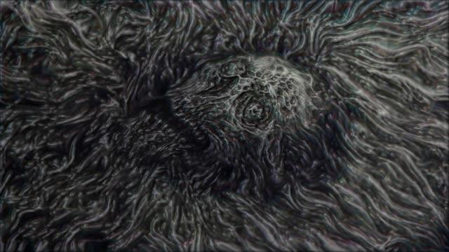 Zombie-Schädel-Gesicht-in-Wasser-Animation