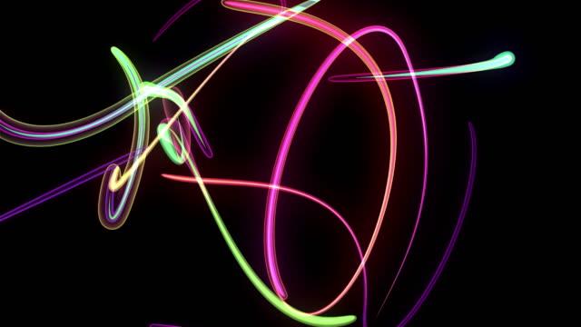 Multi-Colored-Neon-Streamers-Over-Black-Background