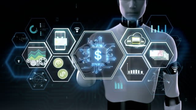 Robot-cyborg-touching-Fin-tech-icon-Financial-technology-and-various-information-icon-4K-size-movie-2-