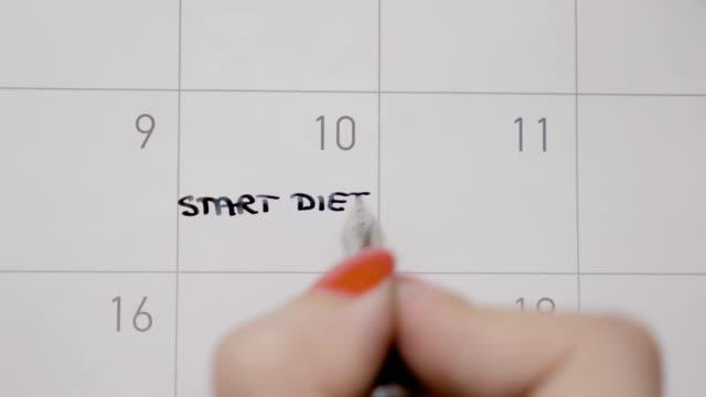 Vista-superior-de-las-manos-mujer-escritura-Inicio-dieta-otra-vez-con-mayúsculas-en-calendario-y-a-continuación-aplicarle-con-un-lápiz-negro