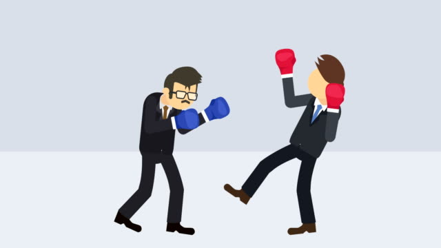 Business-man-battle-in-boxing-gloves-Business-competition-concept-Loop-illustration-in-flat-style-