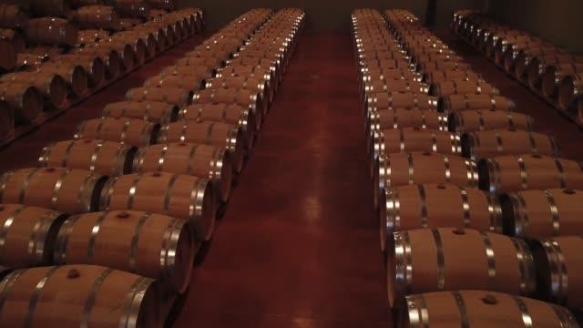 Aerial-view-Barrels-in-a-wine-cellar-Bordeaux-Vineyard-France