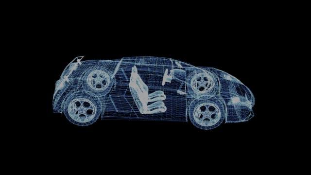 El-holograma-de-un-wireframe-deporte-coche