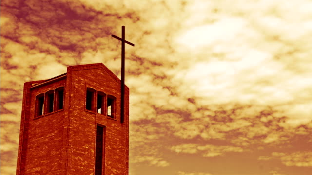 Time-lapse-of-a-Christian-church-against-a-red-cloudy-sky