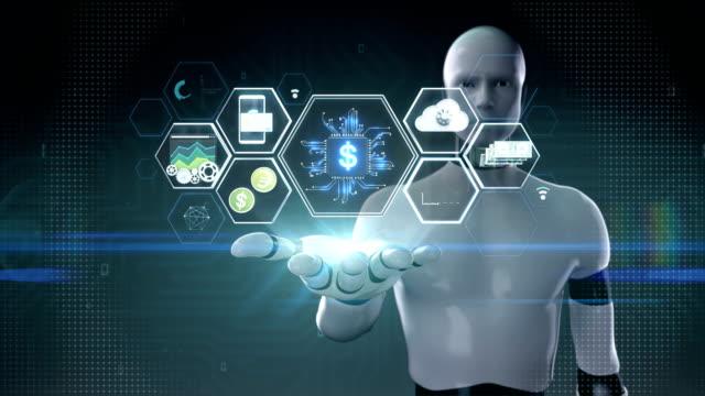 Robot-cyborg-abierta-Palma-icono-de-aleta-tech-tecnología-financiera-y-varios-icono-de-información-Película-de-tamaño-de-4K