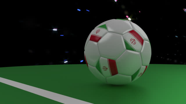 Soccer-ball-with-the-flag-of-Iran-crosses-the-goal-line-under-the-salute-3D-rendering
