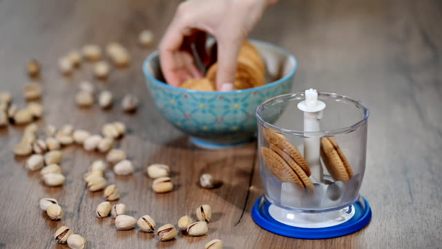 Homemade-baking-Chopped-cookies-in-a-blender-
