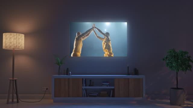 Basketball-game-on-living-room-tv-set