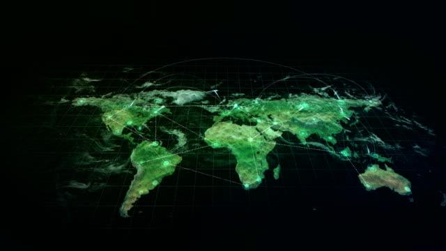 Hologramm-Verbindungen-Welt-Karte-grün