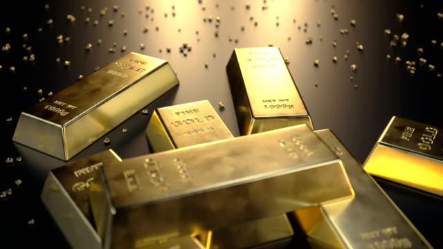 Feine-Goldbarren-1000-Gramm-auf-dem-Boden-mit-verstreuten-Stücke-aus-Gold-Endlos-wiederholbar-Animation-Konzept-des-Reichtums