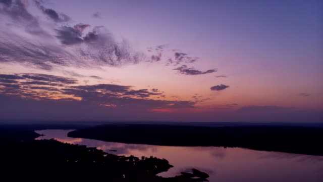 Scenic-sunset-over-river-timelapse-