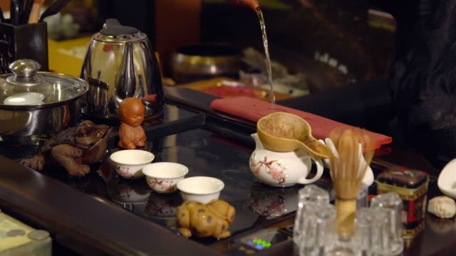 Tea-ceremony-Master-pours-the-tea-on-the-cups