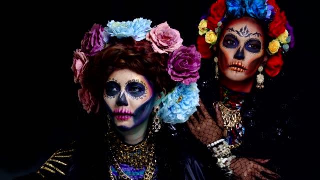 Closeup-portrait-of-female-model-with-a-sugar-skull-makeup
