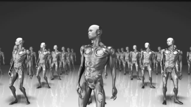 AI-robot-looking-around-confused-at-clone-artificial-intelligence
