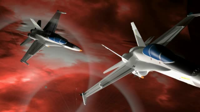Fighter-airplanes-in-a-red-sky---3D-rendering-video