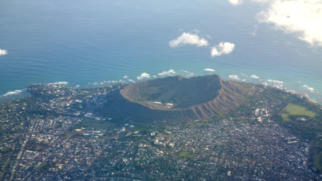 Aerial-shot-of-Diamond-Head-and-Waikiki-beach-at-Oahu-Hawaii-in-4k