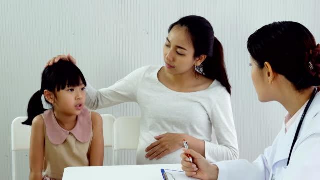 Niña-y-madre-consultar-a-médico-en-la-clínica.-Médico-explique-a-la-mujer-y-su-hija-problema.-Personas-con-concepto-sanitario-y-médico.