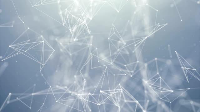 Abstracto-Digital-concepto-de-figuras-geométricas:-Polígono-del-plexo-fractales-en-movimiento-conexión-entre-partículas-Animación-de-fondo-de-Seamless-Loop-triangular-concepto-tecnológico