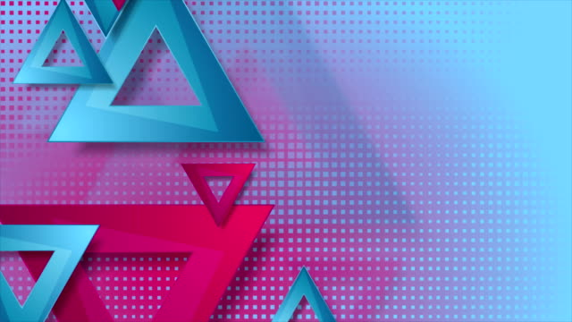Vibrant-pink-and-blue-triangles-abstract-video-animation