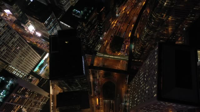 4K-aerial-view-footage-of-Hong-Kong-beautiful-night-scenes-at-Central-District