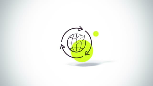 Flechas-rotar-con-la-hoja-de-tierra-y-Eco-símbolo-de-animación-con-pantalla-plana