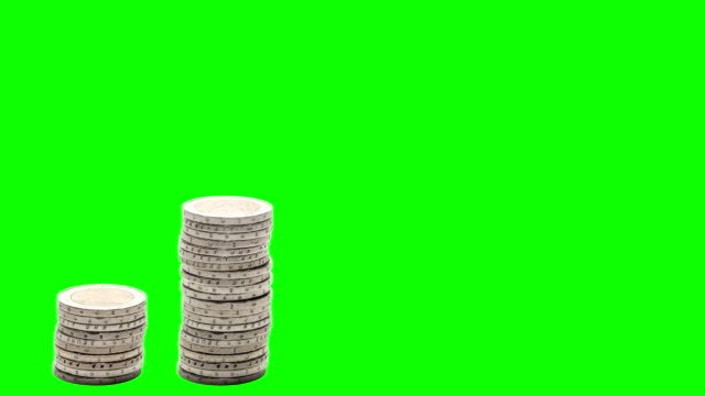 Five-stacks-of-coins-rise-fall-and-rise-again---Stop-Motion---Chroma-Key-