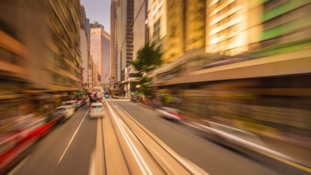 china-sunny-day-hong-kong-city-center-famous-tram-traffic-ride-panorama-4k-time-lapse
