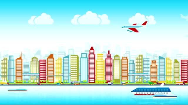 Colorful-city-skyline-with-traffic-of-various-vehicles-train-airplane-car-ship-in-flat-style-cityscape-seamless-loop