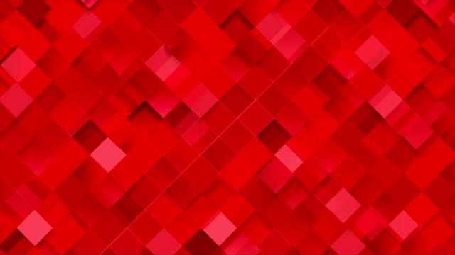 Mosaico-de-cuadrados-geométricos-rojos-brillantes-vídeo-de-animación