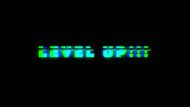 Level-UP-text-with-bad-signal-Glitch-effect