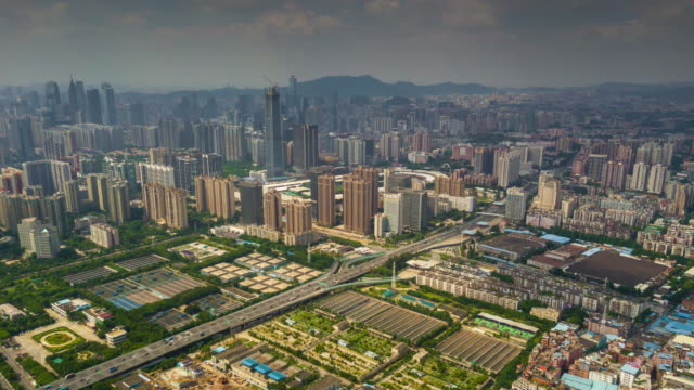 China-día-tiempo-guangzhou-paisaje-urbano-industrial-panorama-aéreo-4k-timelapse