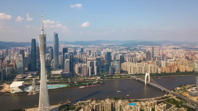China-Sonnentag-Guangzhou-Stadt-Innenstadt-Perlfluss-Kanton-Turm-Seite-aerial-Panorama-4k-Zeitraffer