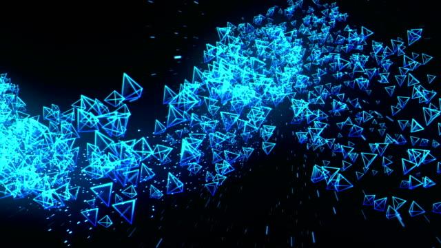 Global-Business-Network-Blue-Pyramids-on-Black-Background-Glitter-Animation-