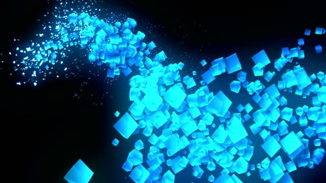 Global-Business-Network-cubos-azules-sobre-fondo-negro-animación-de-brillo-