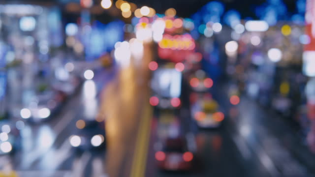 Traffic-jam-on-a-highway-at-night-out-of-focus