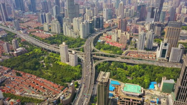 china-shanghai-sunny-day-cityscape-famous-traffic-road-junction-aerial-panorama-4k