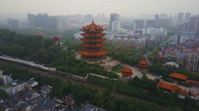 china-day-time-wuhan-cityscape-yellow-crane-temple-park-aerial-panorama-4k