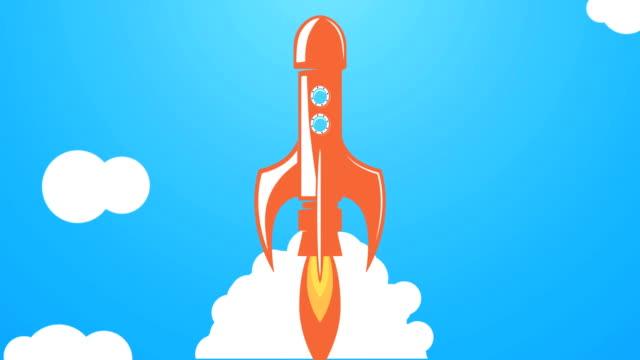 Animación-de-estilo-plano-de-lanzamiento-del-cohete-