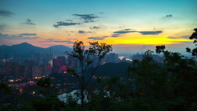 china-sunset-zhuhai-famous-mountain-park-top-cityscape-panorama-4k-timelapse