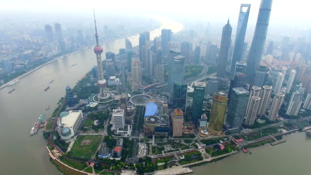 Aerial-View-of-The-Bund-and-Shanghai-skyline-Shanghai-China-