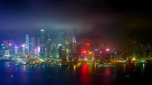 Antena-timelapse-del-luminoso-horizonte-de-Hong-Kong-Hong-Kong-China