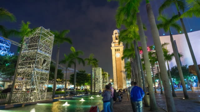 china-night-light-clock-tower-park-walking-panorama-4k-time-lapse