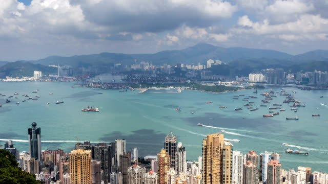 Timelapse-of-Hong-Kong-View-from-the-Mountain-Peak-Aerial-view-Landmark-view-